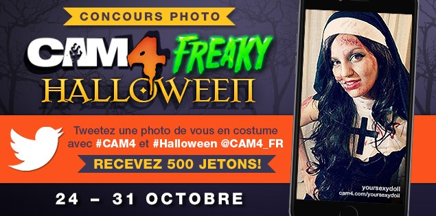 Concours Photo CAM4 Freaky Halloween 500 jetons à gagner