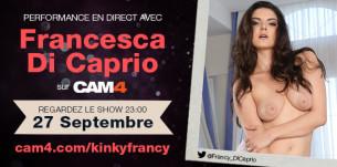 En free webcam show, découvrez sur CAM4, cette beauté fulgurante, l'étoile du porno Francesca Di Caprio dans un show inoubliable en free webcam show!