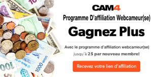 Augmentez vos revenus avec le programme d'affiliation pour webcameur(se) – 2$ par nouveau inscrit sur CAM4