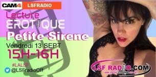 Lecture érotique avec Petite Sirene: vendredi 13 Septembre de 15h-16h avec CAM4 et LSF RADIO!